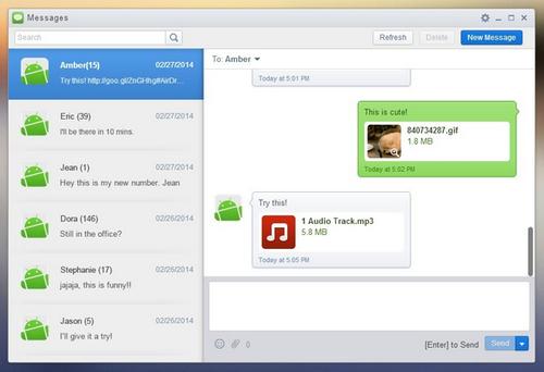 AirDroid SMS com anexo