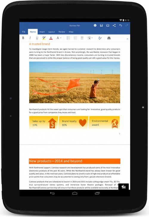 Microsoft libera versão completa do Office grátis para Tablets Android