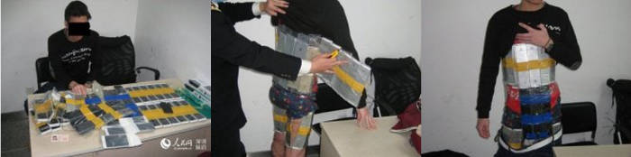 Homem tenta entrar na China com 96 Iphones grudados no corpo