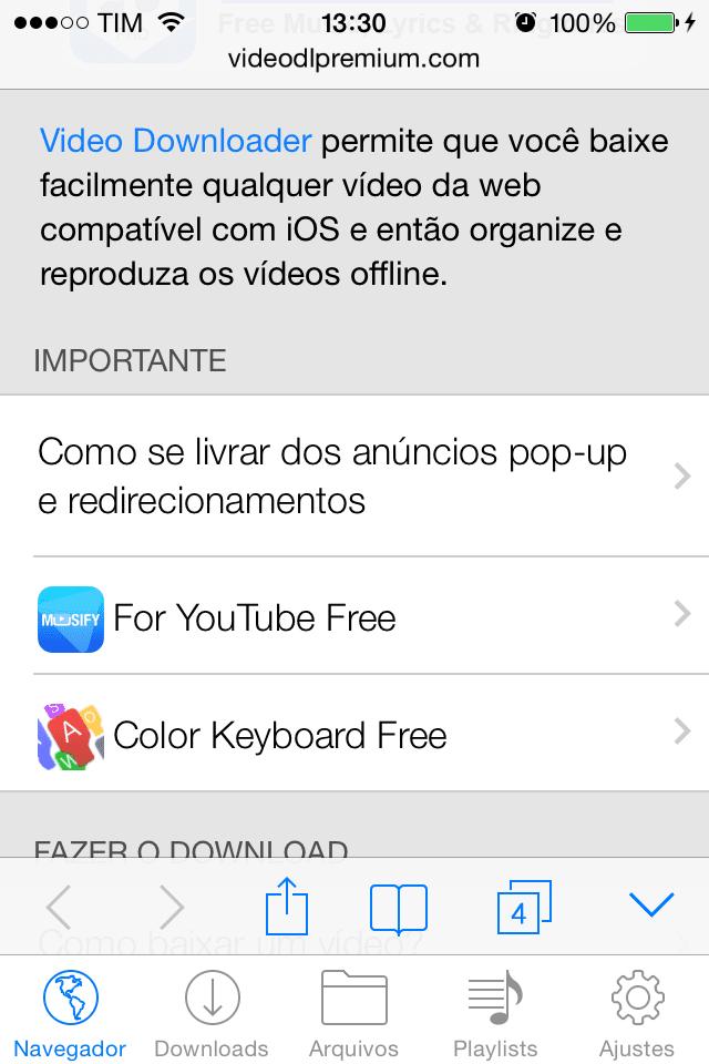 tela inicial app grátis para Iphone