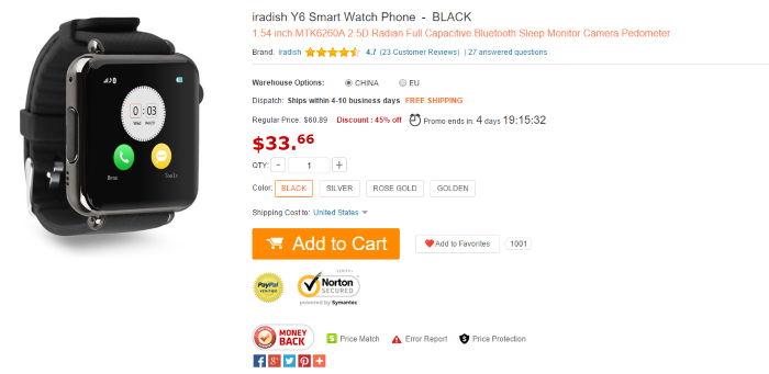 Iradish Y6 - Smartwatch está em promoção na loja virtual GearBest