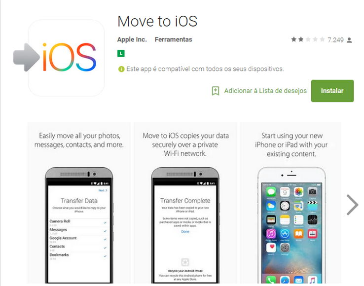 Move to IOS é o primeiro aplicativo da Apple na Play Store