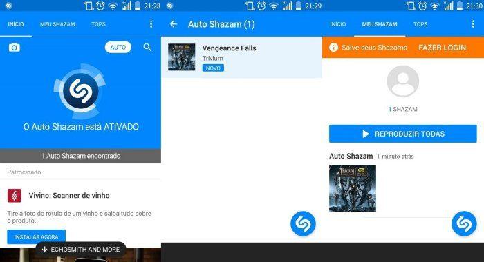 Após ativado, o Auto Shazam identifica a faixa em execução e a manda para uma aba com o mesmo nome. (Foto: Reprodução/Mobile Bit)
