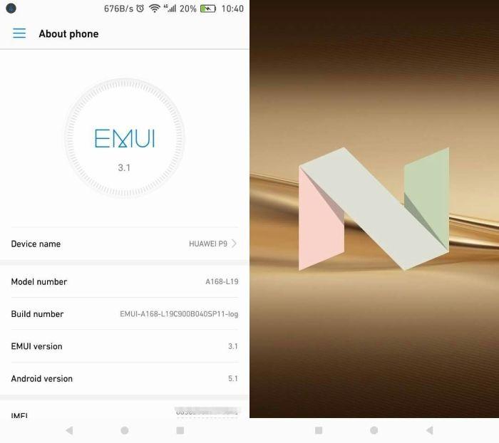 Vaza a prévia do Android 7.0 Nougat para o Huawei P9. (Foto: Divulgação/XDA)