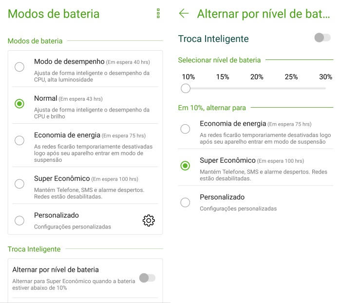 Zenfone 4 Modos de Bateria