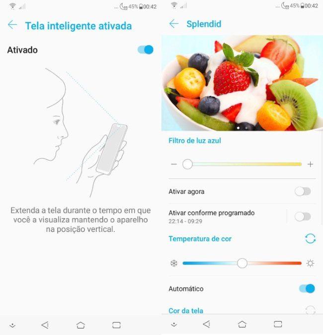 Zenfone 5 2018 - Tela inteligente ativada