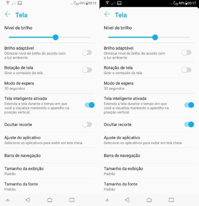 Zenfone 5 2018 - Ocultar recorte