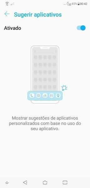 Zenfone 5 2018 - Sugerir Aplicativos