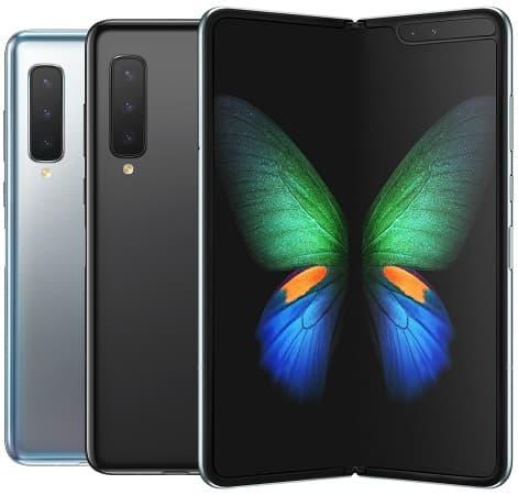 Samsung Galaxy Fold cores preto e prata.