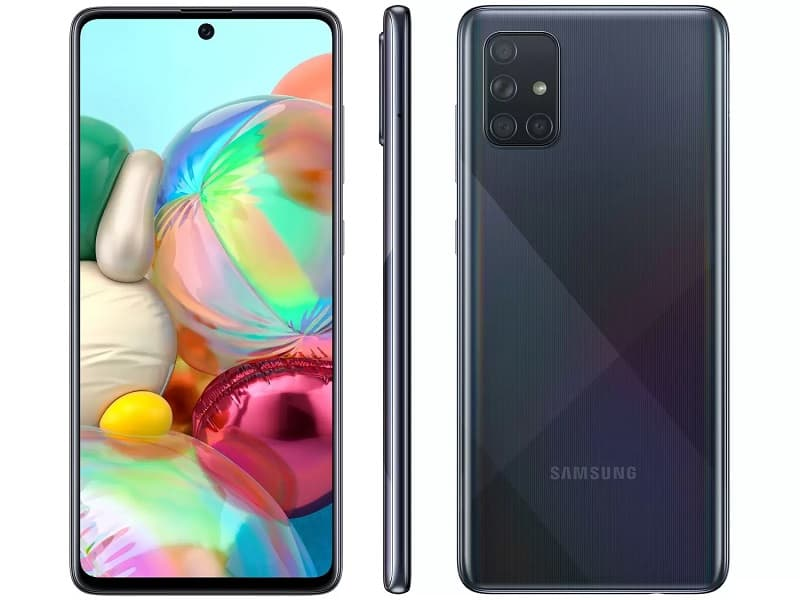 Samsung Galaxy A71 na cor preta.