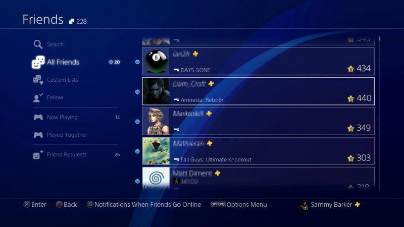 playstation 4 lista de amigos console