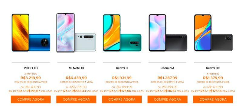 smartphones da loja da xiaomi