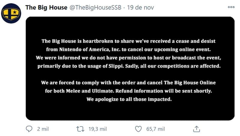 Nota da The Big House sobre o cancelamento do torneio de Smash Bros. pela Nintendo.