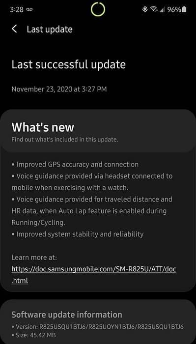 Captura de tela atualização Galaxy Watch Active 2.