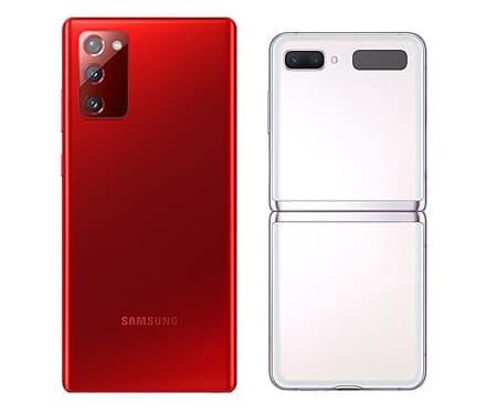 Galaxy Note 20 5G vermelho e Galaxy Z Flip 5G branco.