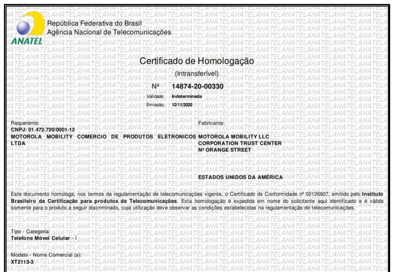 moto g 5g no brasil anatel