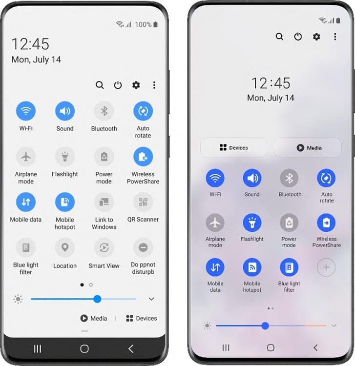 Comparativo One UI 2 e One UI 3.