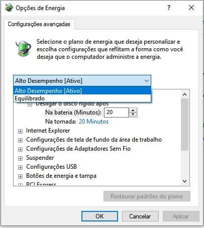Windows 10 opções de energia