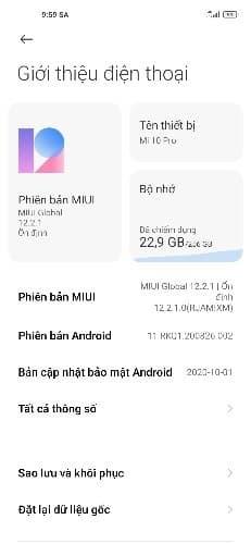 Captura de tela atualização global estável MIUI 12 para Mi 10 Pro.