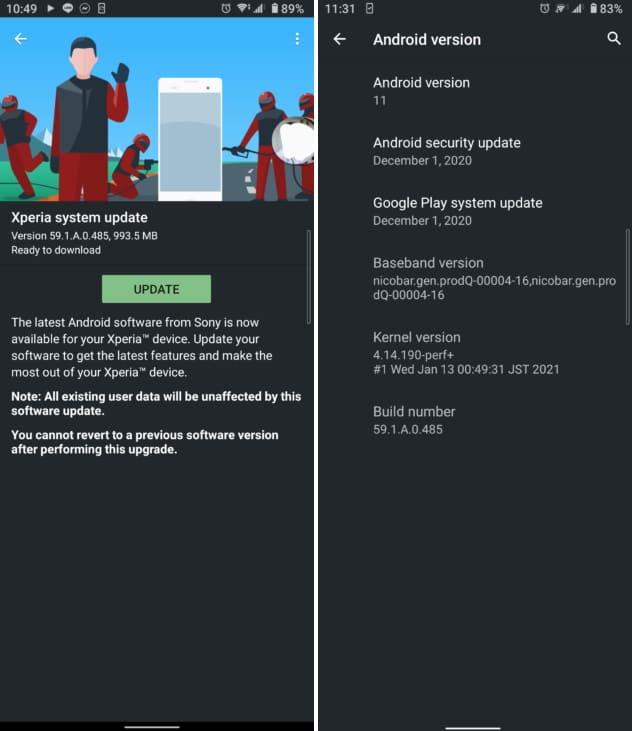 captura de tela android 11 xperia 10 ii