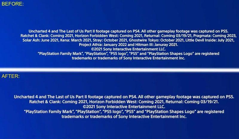 Comparativo de informações do teaser sobre games do PlayStation 5.