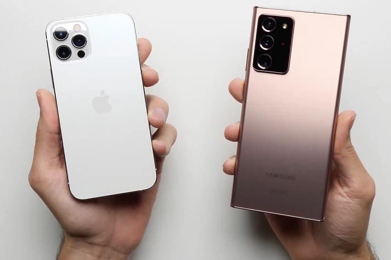 Comparativo design Note 20 Ultra e iPhone 12 Pro Max