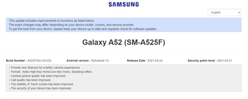 galaxy a52 atualizacao samsung