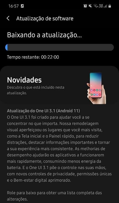 Samsung Galaxy A71 update Brasil