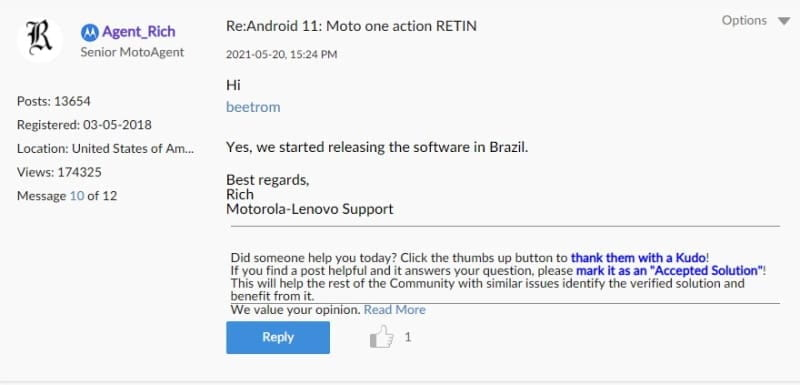 android 11 moto one action