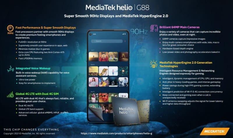 mediatek helio g88 tela